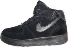 "Зимние кроссовки Nike Air Force 1 High Suede Fur ""Black"" с мехом, 44"