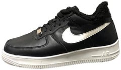"Зимние кроссовки Nike Air Force 1 Low Leather Fur ""Black/White"" с мехом, 45"
