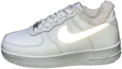 "Зимние кроссовки Nike Air Force 1 Low Leather Reflective ""White"" с мехом, 40"