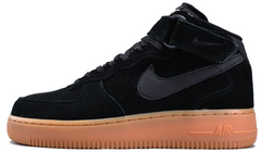 "Зимние кроссовки Nike Air Force 1 High Suede ""Black/Gum"" с мехом, 45"