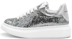 "Кроссовки Alexander McQueen Oversized Lace-Up Glitter Leather ""Silver"", 40"