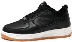 "Зимние кроссовки Nike Air Force 1 Low Leather ""Black/White-Gum"" с мехом, 45"