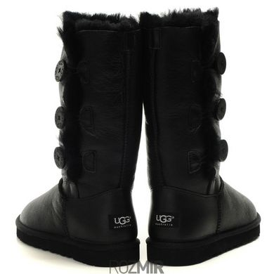 "Женские угги UGG Bailey Button Triplet Leather ""Black"", 36"