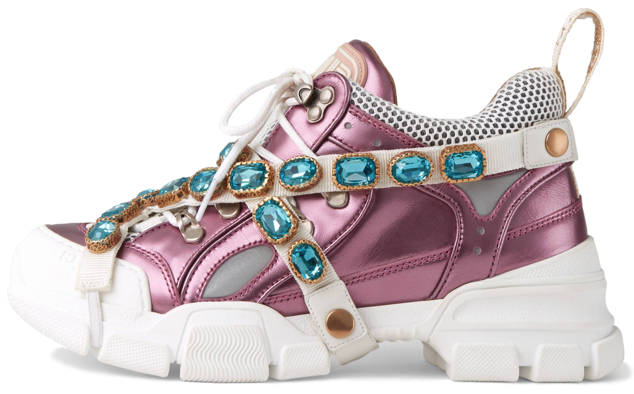 "Женские кроссовки Gucci Flashtrek Sneaker With Removable Crystals x SEGA ""Pink Metallic"", 40"