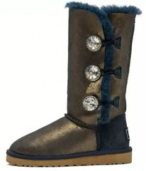 "Женские угги UGG Bailey Button Triplet Bling ""Blue/Gold"", 38"