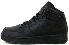 "Зимние кроссовки Nike Air Force Leather High Winter ""Black"" с мехом, 45"