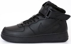 "Зимние кроссовки Nike Air Force 1 High Winter FUR ""Black"" с мехом, 45"