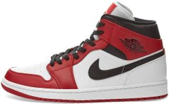 "Кроссовки Air Jordan 1 Mid Chicago 2020 ""White/Red-Black"" 554724-173, 45"
