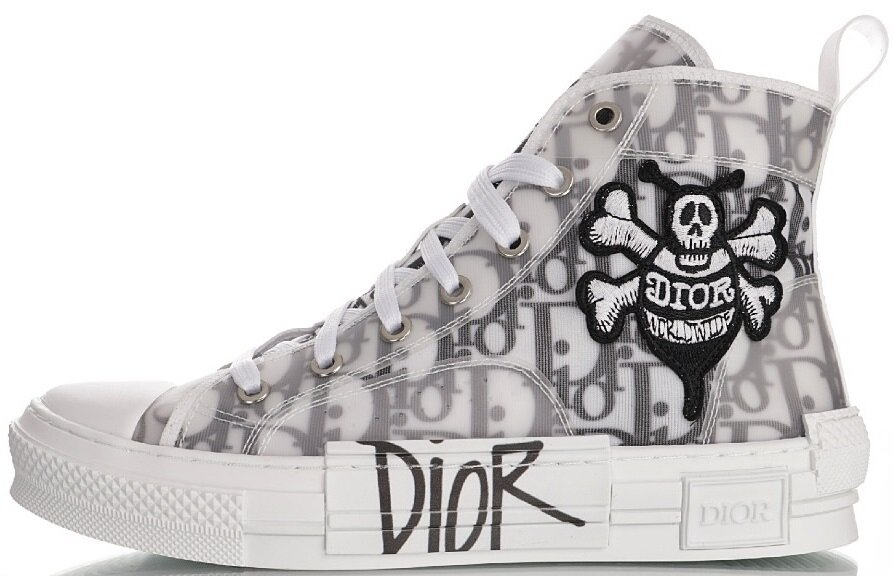 Кроссовки Dior B23 High Top x Shawn Bee Embroidery White, 45