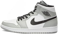 "Кроссовки Air Jordan 1 Mid ""Light Smoke Grey/Black/White"" 554724-092, 45"