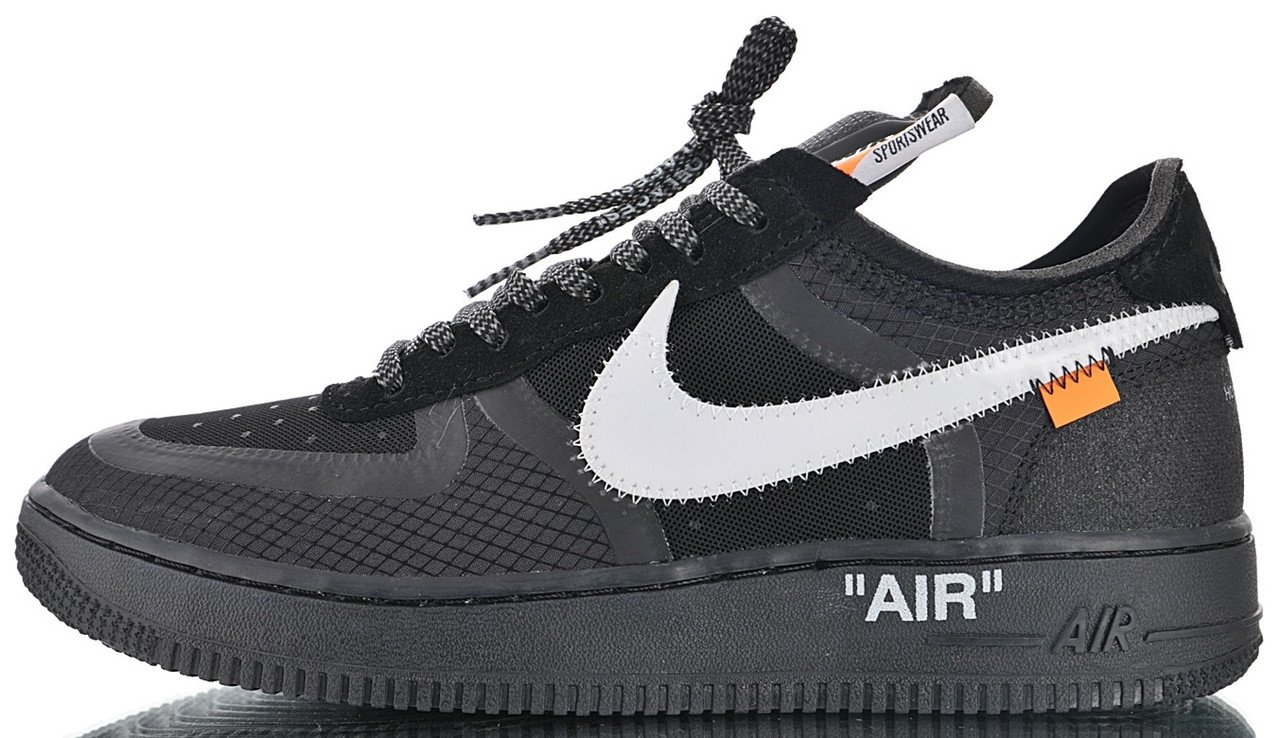 "Мужские кроссовки OFF-WHITE x Nike Air Force 1 Low ""Black"" 2.0 AO4606-001, 44"