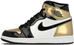 "Кроссовки Air Jordan 1 Retro High OG NRG Patent Gold Toe ""Black - Metallic Gold - White"" 861428-007, 40"