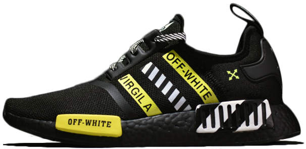 "Мужские кроссовки OFF-WHITE x adidas NMD R1 ""Black / Yellow"", 44"
