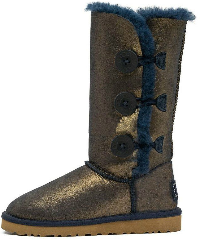 "Женские угги UGG Bailey Button Triplet Metallic ""Blue/Gold"", 38"
