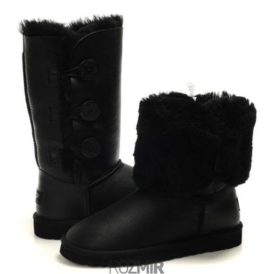 "Женские угги UGG Bailey Button Triplet Leather ""Black"""