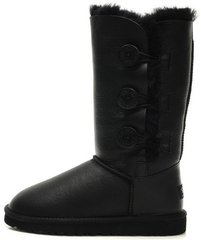"Женские угги UGG Bailey Button Triplet Leather ""Black"", 39"