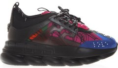 Женские кроссовки Versace Chain Reaction Black Multi-Color Rubber Suede, 39