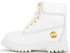 "Женские зимние ботинки Timberland 6 Inch Premium Leather Winter ""White/Gold"" с мехом, 40"