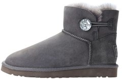 "Женские угги UGG Mini Bailey Button Bling ""Grey"", 39"