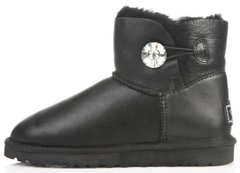 "Женские угги UGG Mini Bailey Button Bling Leather ""Black"", 40"